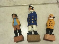 "Wooden Statues Captain Admiral Seaman Smoking Pipe 6""-4.5"" Blue Yellow Hand Made"