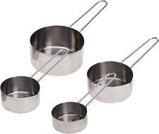 Set of 4 Stainless Steel Measuring Cups Spoons Kitchen Measure Baking Cooking