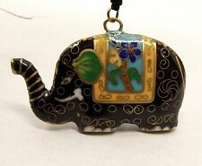 Vtg Fine Chinese Cloisonne Elephant Pendant Necklace Enamel Brass Blue Flower