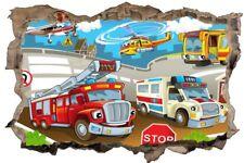 Feuerwehr Helikopter Auto Kinder Wandtattoo Wandsticker Wandaufkleber H0831