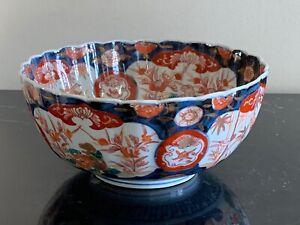 Antique Japanese Scalloped Rim Imari Bowl