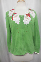 SUPER Ugly Christmas Sweater Lime Green Zip Up w Santa Faces Sparkle Sz Med