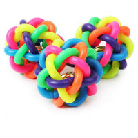 Pet Chew Toys Dog Cat Knotted Rubber Ball with Sound Bell Woven Ball Chewing Toy