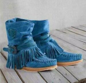 Womens Fashion Boho Faux Suede Tassel Buckle Hidden Wedge Ankle Boots Shoes 2919