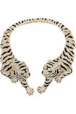 ROBERTO CAVALLI Moonstone Gold-plated Swarovski Crystal Tiger Necklace Choker