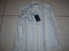 Ladies western style shirt by 7 Diamonds in size XS, new with tags, white,blue.