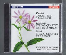 PUCCINI DONIZETTI VERDI CD NEW STRING QUARTETS JEAN JACQUES KANTOROW