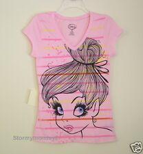 Pink Pretty Tinkerbell Face T Shirt ~ NWOT ~ Juniors M