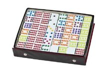 Double 12 Color Dot Mexican Train Dominoes Professional White 91pc Set w/ Case
