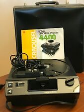 Kodak Carousel Slide Projector 4400 Black Leather Case Remote NO TRAY Works!