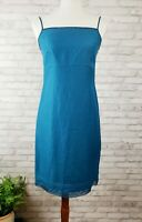 Laura Ashley Dress 4 Teal Blue Silk Linen Spaghetti Strap Shift Beaded Trim
