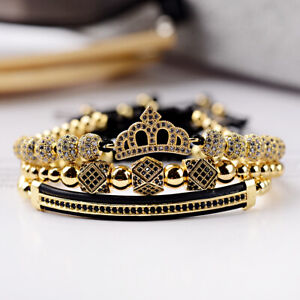 Luxury Women Men Zircon Crown Bead Macrame Adjustable Queen King Couple Bracelet