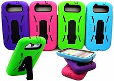 for samsung galaxy S3 built in stand soft hard case 2 layers green blue hot pink