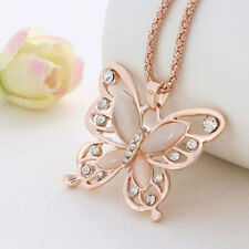 New Fashion Womens Lady Rose Gold Butterfly Sweater Pendant Necklace Chain