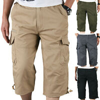 Mens Elastic Waist Cargo Combat Pants Long Shorts Summer Casual Bottoms Trouser