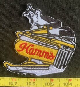 Vintage Snowmobile Hamm's Beer Bear Old school Beer Collectors Patch Sew On