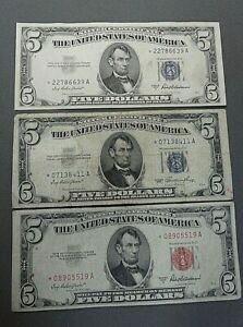 3 Piece 5 Dollar Star Note Collection 1953