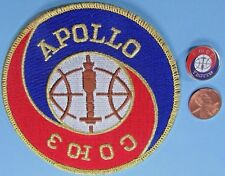 "NASA 4"" PATCH & PIN PAIR vtg APOLLO - SOYUZ Joint US Russian space exploration"