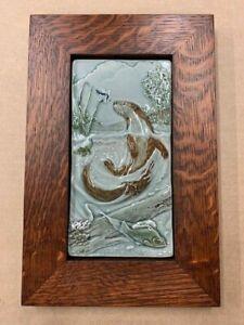 Medicine Bluff Otter Art Tile Arts & Crafts Mission Style Oak Park Frame