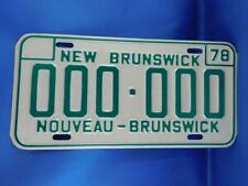 NEW BRUNSWICK LICENSE PLATE SAMPLE 00 000 1978 CANADA GARAGE CAR SHOP SIGN