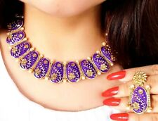 Indian Design Pearl Blue Oval Gold Plated Necklace Earring Set Gemstone Choker