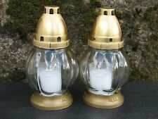 2 Grablichter Grablampe Grablaterne Grablicht Grabschmuck Kerze Grableuchte