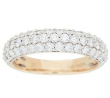 AFFINITY THREE ROW 1 CT PAVE DIAMOND 14K YELLOW GOLD BAND RING SIZE 5 QVC $1,499