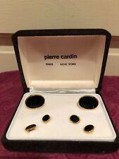 Pierre Cardin cuff links and tuxedo shirt studs,black onyx gold tone NIB