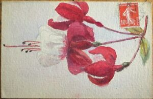 Original Art/Hand-Painted 1909 Postcard: Red & White Flower, Watercolor