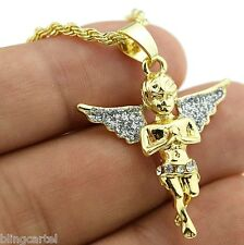 "Micro Angel Stardust Wings Pendant Hip Hop Chain Gold Tone 24"" In Rope Necklace"