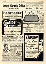 Continental Hannover Fahrräder HH Köln Rullyn Dampfdestillerie Laufenburg...1901