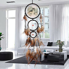 US Native American Dream Catcher With Feather Wolf Wall Hanging Home Decor Gift
