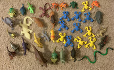 Lot of Plastic Toy Animals Dinosaurs Frogs, Figures Some Rubber Mostly Plastic