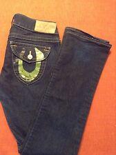 True Religion Ladies Jeans Pants Great condition! Green Gold Foil Paint Sz 29