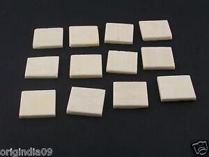 """12 pc, smooth white bone spacer 3/4x3/4x1/8"""" (013)"""
