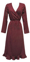 New Ladies Retro WW2 Wartime 1940's Style Wine Polka Dot Ruffle Back Tea Dress