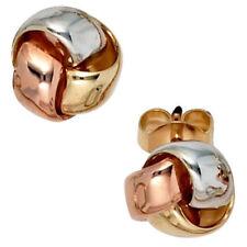 Echter Edelmetall-Ohrschmuck ohne Steine aus mehrfarbigem Gold mit Butterfly-Verschluss