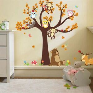 Kids Wall Stickers Children Bedroom Colorful Owl Tree Removable Art Vinyl DIY 🦉