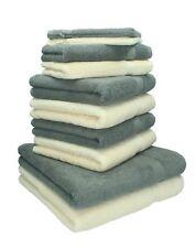 Betz lot de 10 serviettes Premium: gris anthracite & beige, 100% coton