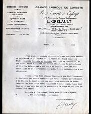 """PARIS (XII°) USINE de NEMOURS (77) CORSETS """"GOUET / L. GRELAULT Succ"""" en 1929"""