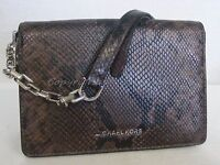 Michael Kors Brinkley Medium Shoulder Flap Bag. Snake Embossed Leather Cinder