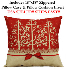 "18x18 18"" MERRY CHRISTMAS XMAS X-MAS HOLIDAY RED Zippered Pillow Case & Cushion"