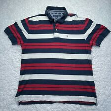 Tommy Hilfiger Polo Shirt Adult Large Striped Logo Flag Cotton Preppy Golf D4