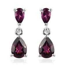 925 Sterling Silver Rhodolite Garnet Dangle Drop Earrings Jewelry Gift Ct 2.2
