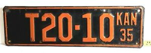 KANSAS - 1935 TRUCK license plate - good looking original, from Marshall County