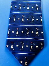 TOMMY HILFIGER SILK TIE - GOLFERS SWING GOLF CLUBS & GOLD STARS DESIGNER PATTERN