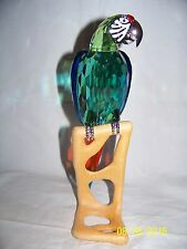 SWAROVSKI CRYSTAL CHROME GREEN MACAW BIRD FIGURINE NEW IN BOX 0685824 RETIRED
