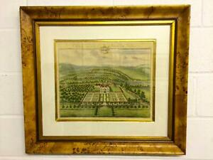 Antique Print Of Bird's-Eye View Of Country House, Jan Kip Etching, Circa 1770s