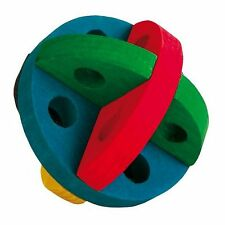 Multi-Coloured Wooden Play & Snack Ball Treat Ball Toy for Hamsters Rats Rabbits
