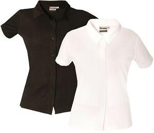Ladies Short Sleeve Shirt Womens Button Up Plain Office Work Blouse Tops Wicking